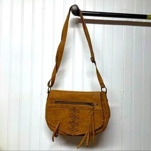 Wallflower Crossbody Saddle Bag Floral Tooled Bag
